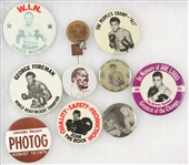 1970s-80s Boxing Pinback Button Collection - Lot of 12 w/ Muhammad Ali, Joe Louis, George Foreman & More