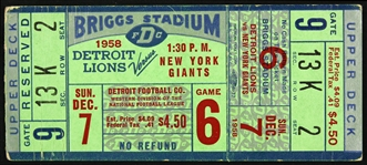 1958 Detroit Lions vs New York Giants Ticket Stub