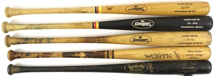1983-91 Professional Model Game Used Bat Collection - Lot of 5 w/ Dave Parker, Dwight Evans, Rob Deer & More (MEARS LOA)