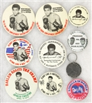 1970's-1980's Muhammad Ali Pinback Button Various Sizes and Keychain (Lot of 10)