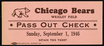 "1946 Chicago Bears Wrigley Field 2""x4"" Pass Out Ticket"