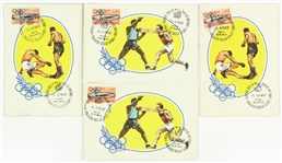 "1960 Rome Summer Olympics 4"" x 6"" Postmarked Boxing Postcards - Lot of 4"