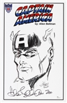 1941 circa Allen Bellman Captain America Timely Comics Head Turned Signed 11x17 Sketch Print (JSA)