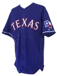 2002 (May 7) Rafael Palmeiro Texas Rangers Signed Game Worn Alternate Jersey (MEARS A10/JSA/Player Letter) Career HR #455