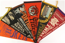 1950s-1980s Baseball and Basketball Pennants Including Milwaukee Brewers, Detroit Tigers, and more