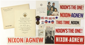 1960s Richard Nixon Pinbacks, Bumperstickers, and more (Lot of 20)
