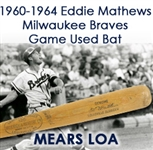 1961-64 Eddie Mathews Milwaukee Braves H&B Louisville Slugger Professional Model Game Used Bat (MEARS LOA)