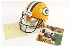 "1997-1998 Robert Brooks Green Bay Packers Signed Game Worn Helmet with Signed 8""x 10"" Photo (JSA)"