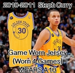 2010-2011 Steph Curry Golden State Warriors Hardwood Classics Game Worn Jersey W/ Mieuli Deerstalker Patch (Originated From Team Seamstress / MEARS A10)