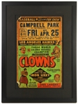 "1950s Los Angeles Hawks vs Indianapolis Clowns Negro League 23""x 31"" Framed Broadside"