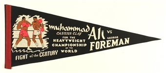 "1971 Muhammad Ali George Foreman Fight of the Century 29"" Full Size Pennant"