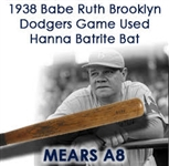 "1938 Babe Ruth Brooklyn Dodgers Professional Model Game Used Bat (MEARS A8) ""Used As Coach During August Trip To Boston"" & Ruth Autograph (Full JSA LOA)"