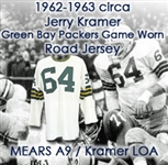 1962-63 circa Jerry Kramer Green Bay Packers Game Worn Road Jersey (MEARS A9/Jerry Kramer Letter)