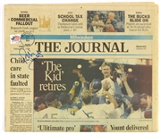 "1994 Robin Yount Milwaukee Brewers Signed ""The Kid Retires"" Milwaukee Journal (JSA)"