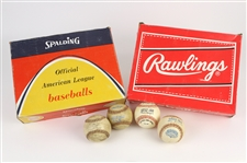 1952-91 Game Used Baseball & Empty Dozen Baseball Box Collection - Lot of 6 w/ ONL Giles, ONL Feeney, OAL MacPhail, OAL Brown Comiskey Park Inauguaral Year & More (MEARS LOA)