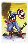 1941 circa Ken Bald Captain America Signed 11x17 Color Print (JSA)