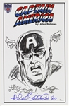 1941 circa Allen Bellman Captain America Timely Comics Signed 11x17 Sketch Print (JSA)