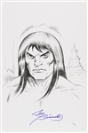 1980s Joe Sinnott Conan Pencil Commission Sketch Signed 11x17 Print (JSA)