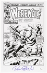 1976 Don Perlin Werewolf By Night #38 Ink Sketch Signed 11x17 Print (JSA)