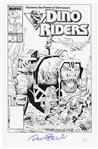 1989 Don Perlin Dino Riders #1 Cover Sketch Signed 11x17 Print (JSA)