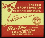 1950s Ted Williams Boston Red Sox Sta-Dry Rainwear Sportswear Advertising Tag
