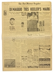 1941 Joe DiMaggio New York Yankees The Des Moines Register Newspaper