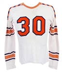 1940s-50s White/Orange/Navy #30 Game Worn Football Jersey (MEARS LOA)