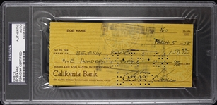 1958 Bob Kane DC Comics Signed Check (PSA/DNA Slabbed)