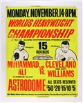 "1966 Muhammad Ali vs Cleveland Williams Linen Back On-Site 25""x 37"" Poster"