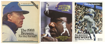 1980s Milwaukee Brewers Official Yearbook, Equitable All-Stars, and Milwaukee Journal Excerpt (Lot of 3)