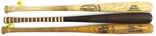 1973-85 Professional Model Game Used Bat Collection - Lot of 3 w/ Pete LaCock, Ted Sizemore & Cesar Cedeno (MEARS LOA)