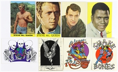 1950s-1990s Steve McQueen Postcards, Grateful Dead Stickers, and more (Lot of 8)