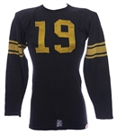 1940s Black/Gold #19 Game Worn Sand Knit Durene Football Jersey (MEARS LOA)