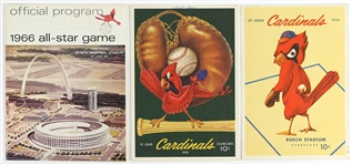 1950s-1960s St. Louis Cardinals Programs and Scorecards (Lot of 3)