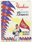 1958 Milwaukee Braves vs New York Yankees Official Program
