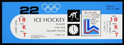 "1980 USA vs USSR ""Miracle on Ice"" XIII Olympic Winter Games Ice Hockey Full Ticket"