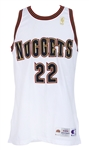 1996-97 Ricky Pierce Denver Nuggets Signed Game Worn Home Jersey (MEARS LOA/JSA)