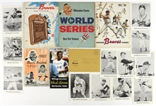 1954-74 Milwaukee Braves Memorabilia Collection - Lot of 17 w/ 1958 World Series Program, Yearbooks, Photos, Hank Aaron Guide & More