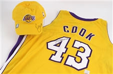 2004-05 Brian Cook Los Angeles Lakers Signed Home Jersey & Cap (MEARS LOA/JSA/Lakers COA)
