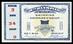 1932 Los Angeles Olympic Games Swimming Stadium Ticket
