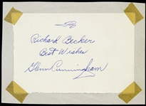 "1932-1940 Glen Cunningham Olympic Runner Signed 3""x 5"" Cut (JSA)"