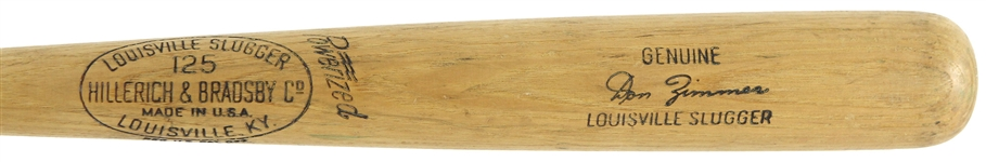 1961 Don Zimmer Chicago Cubs H&B Louisville Slugger Professional Model Game Used Bat (MEARS A8) Lone All Star Season