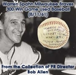 1961 (August 11) Warren Spahn Milwaukee Braves ONL Giles 300th Career Victory Game Used Baseball (MEARS LOA)