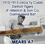 "1910-1917 circa Ty Cobb Detroit Tigers JF Hillerich & Sons Co Professional Model Game Used Decal Bat (MEARS A7/PSA Authentic) ""Spanning Cobb's 1911 MVP Season"""