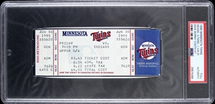 1995 Minnesota Twins vs Cleveland Indians Eddie Murray 3,000th Hit Full Ticket (PSA/DNA Slabbed)