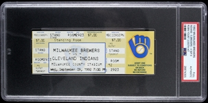 1992 Milwaukee Brewers vs Cleveland Indians w/ Robin Younts 3,000th Hit Full Ticket (PSA/DNA Slabbed)