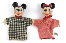 "1950s Mickey & Minnie Mouse Walt Disney 10"" Hand Puppets"