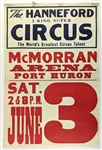 "1950s circa The Hanneford 3 Ring Super Circus 28""x 42"" Poster"