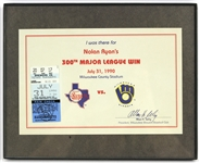 1990 Nolan Ryan Texas Rangers 300th Win Ticket Stub