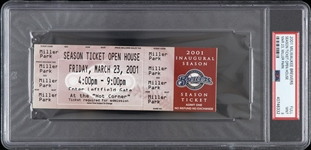 2001 Milwaukee Brewers Miller Park Open House Full Ticket (PSA/DNA Slabbed)
